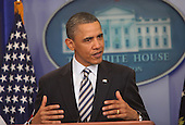 """United States President Barack Obama makes a statement following the release of the """"long form"""" version of his Hawaiian birth certificate in the Press Briefing Room of the White House on Wednesday, April 27, 2011. .Credit: Dennis Brack / Pool via CNP"""