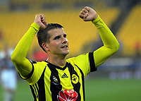 Wellington's Andrija Kaluderovic celebrates winning the A-League football match between Wellington Phoenix and Melbourne Victory at Westpac Stadium in Wellington, New Zealand on Friday, 10 January 2018. Photo: Dave Lintott / lintottphoto.co.nz
