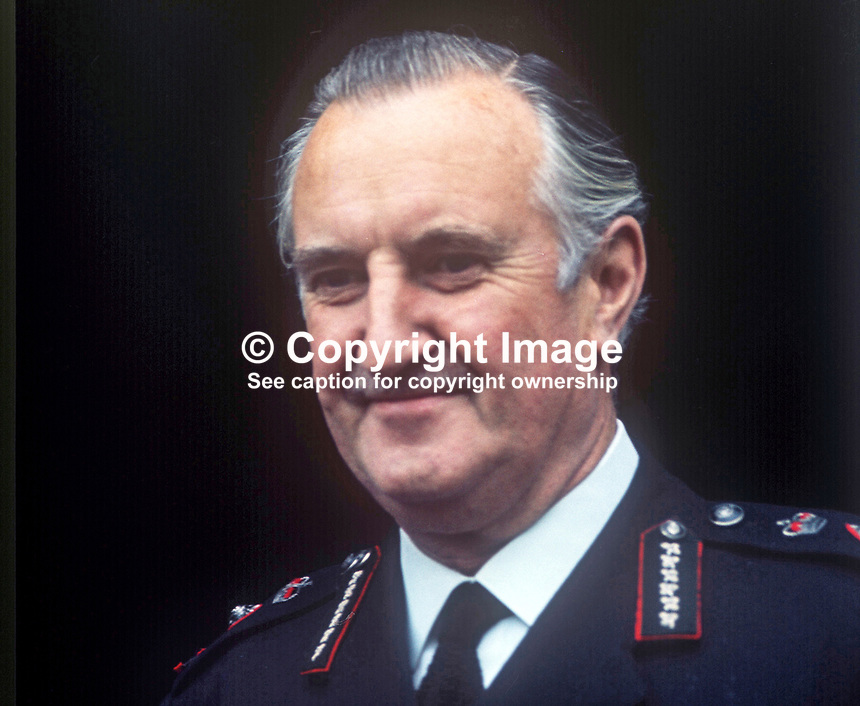 Sir Arthur Young, Commissioner of the City of London Police, who was seconded in 1969 to the RUC, Royal Ulster Constabulary, to implement the Hunt Report, which introduced the standard British rank system for police officers in Northern Ireland. Young had the distinction of being the RUC's last Inspector-General and its first Chief Constable. November 1969. 196911000258b<br />