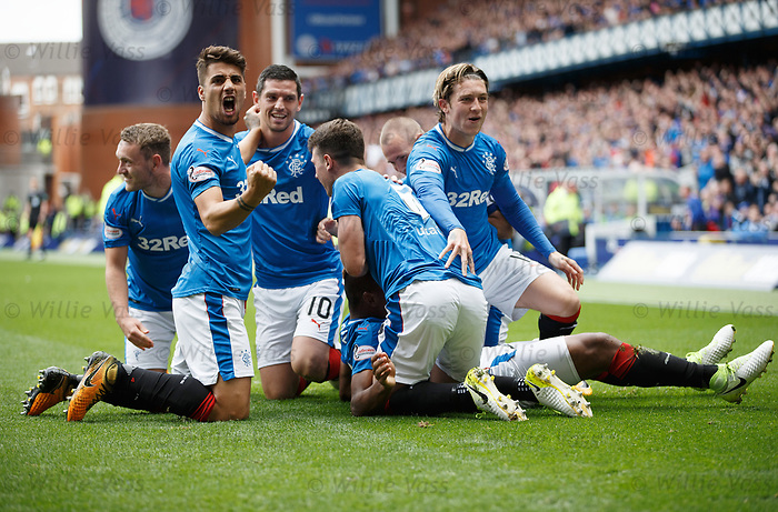 Alfredo Morelos mobbed after scoring