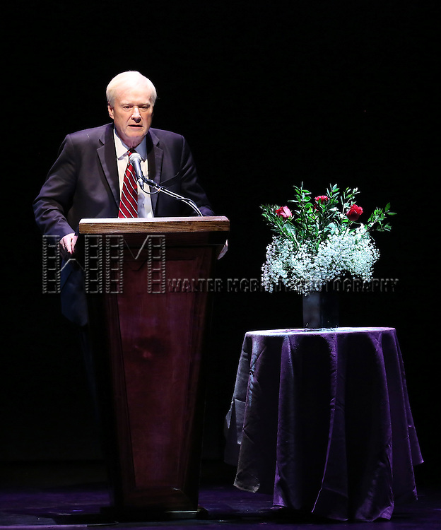 Chris Matthews on stage at 'A Tribute to Polly Bergen' at the American Airlines Theatre on March 26, 2015 in New York City.