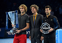 Alexander Zverev and Novack Djokovic posing with their trophies with Guga Kuerten<br /> <br /> Photographer Hannah Fountain/CameraSport<br /> <br /> International Tennis - Nitto ATP World Tour Finals Day 7 - O2 Arena - London - Saturday 17th November 2018<br /> <br /> World Copyright &copy; 2018 CameraSport. All rights reserved. 43 Linden Ave. Countesthorpe. Leicester. England. LE8 5PG - Tel: +44 (0) 116 277 4147 - admin@camerasport.com - www.camerasport.com