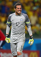Brazil goalkeeper Julio Cesar grits his teeth after conceding a penalty