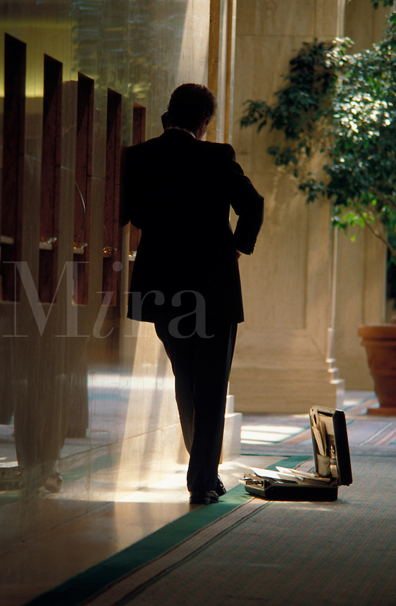 Business man on lobby pay phone.