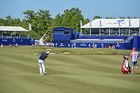 Padraig Harrington (IRL) hits his second shot on 18 during Round 1 of the Zurich Classic of New Orl, TPC Louisiana, Avondale, Louisiana, USA. 4/26/2018.<br /> Picture: Golffile | Ken Murray<br /> <br /> <br /> All photo usage must carry mandatory copyright credit (&copy; Golffile | Ken Murray)