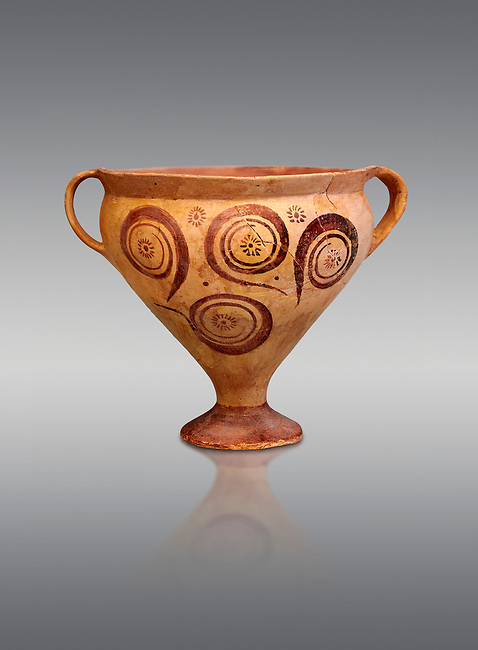 Minoan decorated two handled Ephyraean goblet  with geometric design , Konssos  Temple Tomb 1400-1250 BC; 1400-1250 BC; Heraklion Archaeological Museum, grey background
