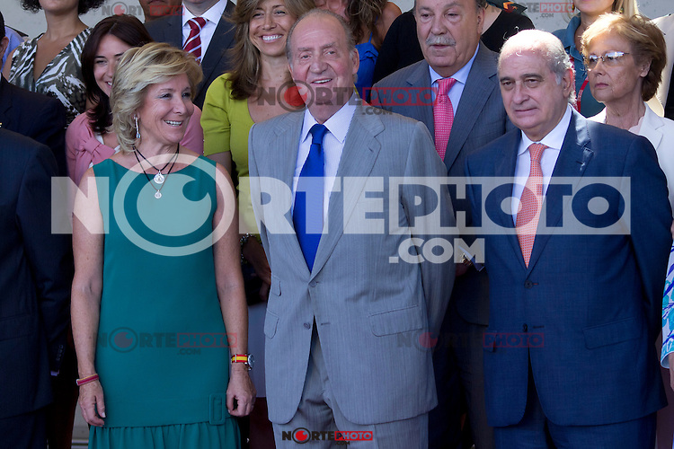 23.08.2012. King Juan Carlos of Spain visits the 112 Emergency Center of the Community of Madrid in Pozuelo de Alarcon, in the company of the president of the Community of Madrid Esperanza Aguirre and Interior Minister Jorge Fernandez Diaz. In the image (L-R) Esperanza Aguirre, King Juan Carlos of Spain and Jorge Fernandez Diaz(Alterphotos/Marta Gonzalez) /NortePhoto.com<br />