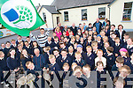 GREEN TEAM: Pupils from Knocknagoshel National School celebrate their fourth Green Flag at a ceremony in the school on Thursday. The flag was raised by Kerry minor football star, Padarig Reidy.   Copyright Kerry's Eye 2008