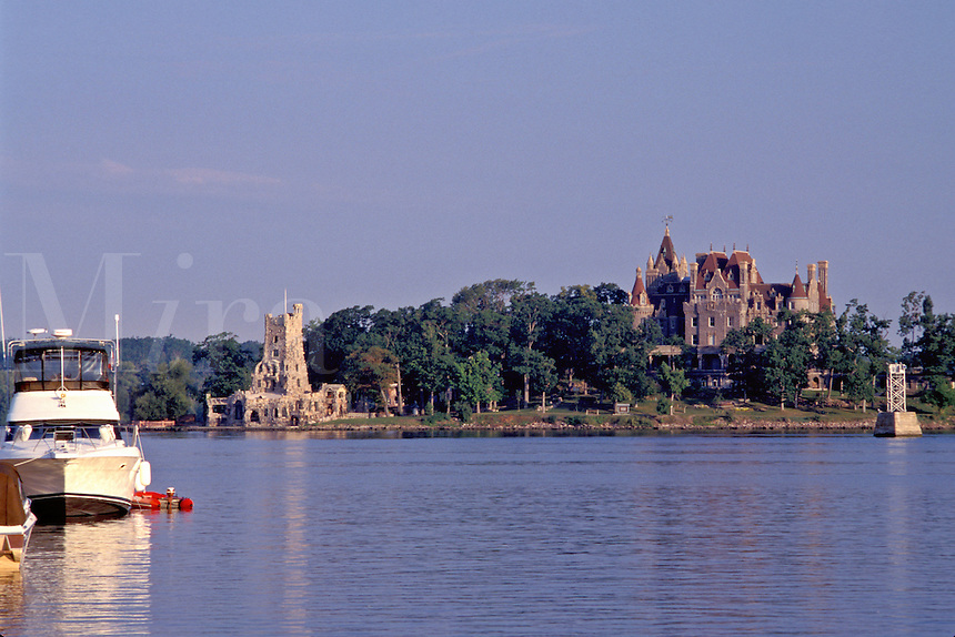 Thousand Islands, NY, Alexandria Bay, New York, St. Lawrence River, Bolt Castle on Heart Island along the St. Lawrence River.