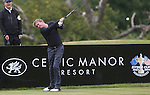 Actor Philip Glenister hits his drive on the 9th during the practice round.<br /> Celebrity Cup Golf<br /> Celtic Manor Resort<br /> 04.07.14<br /> &copy;Steve Pope-SPORTINGWALES