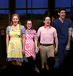 Caitlin Houlahan, Christopher Fitzgerald, Drew Gehling  with Katharine McPhee during her Broadway Debut Curtain Call in 'Waitress' at the Brooke Atkinson Theatre on April 10, 2018 in New York City.