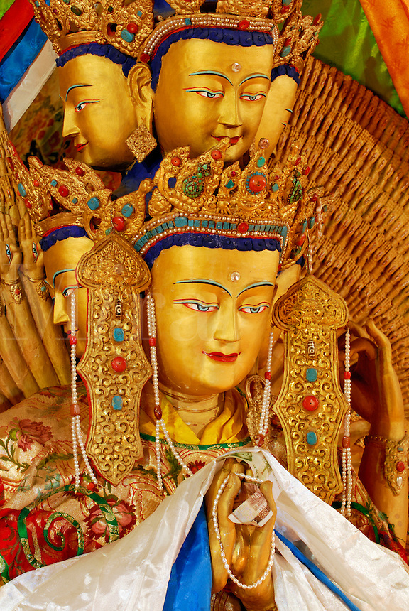 Chenresig, Bodhisattva of Compassion, reincarnated in the Dalai Lamas, detail of the eleven-headed thousand-armed version, each hand has an eye in the palm, Sera Monastery, Lhasa, Tibet, China.