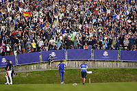 Ian Poulter (Team Europe) on the 18th during the singles matches at the Ryder Cup, Le Golf National, Ile-de-France, France. 30/09/2018.<br /> Picture Fran Caffrey / Golffile.ie<br /> <br /> All photo usage must carry mandatory copyright credit (© Golffile | Fran Caffrey)