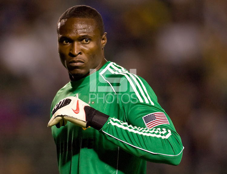 LA Galaxy goalkeeper Donovan Ricketts keeps his eye on play. The LA Galaxy defeated the New England Revolution 1-0 at Home Depot Center stadium in Carson, California on Saturday evening March 27, 2010.  .