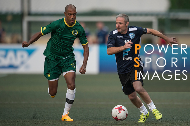 playonPROS (in navy blue) vs Wallsend Boys Club (in green), during their Masters Tournament match, part of the HKFC Citi Soccer Sevens 2017 on 27 May 2017 at the Hong Kong Football Club, Hong Kong, China. Photo by Marcio Rodrigo Machado / Power Sport Images
