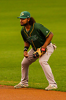 Beloit Snappers second baseman Jesus Lopez (10) during a Midwest League game against the Wisconsin Timber Rattlers on August 30, 2017 at Fox Cities Stadium in Appleton, Wisconsin. Wisconsin defeated Beloit 4-0. (Brad Krause/Four Seam Images)