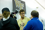 Borna Gojo of the Wake Forest Demon Deacons answers questions from the media following his runner-up finish in the finals of the 2018 NCAA Men's Tennis Singles Championship at the Wake Forest Indoor Tennis Center on May 28, 2018 in Winston-Salem, North Carolina.  Petros Chrysochos defeated teammate Borna Gojo 6-3 6-3.  (Brian Westerholt/Sports On Film)