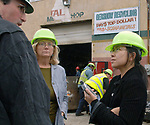 MEDFORD,NY-OCTOBER 6, 2006: Chau Lam (at right) interviewing Kevin G. Gershowitz of Gershow Recycling Centers (at left) at Gershow Recycling Center in Medford on Friday October 6, 2006. In middle is Jo Keim of Epoch 5 Public Relations Co. (Newsday Photo / Jim Peppler).