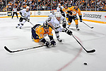 NASHVILLE, TN - MARCH 06:  Craig Smith #15 of the Nashville Predators dives for a puck in front of Jarret Stoll #28 of the Los Angeles Kings at the Bridgestone Arena on March 6, 2012 in Nashville, Tennessee.  (Photo by Frederick Breedon/Getty Images) *** Local Caption *** Craig Smith; Jarret Stoll