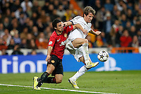 Real Madrid's Fabio Coentrao (r) and Manchester United's Rafael during Champions League 2012/2013 match.February 12,2013. (ALTERPHOTOS/Alfaqui/Cesar Cebolla)