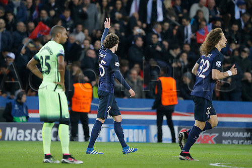 06.04.2016. Paris, France. UEFA CHampions League, quarter-final. Paris St Germain versus Manchester City.  Adrien Rabiot (psg) celebrates with Fernando Luiz Roza  David Luiz Moreira Marinho (psg)