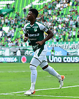 PALMIRA - COLOMBIA, 01-09-2019: Danny Rosero Valencia del Cali celebra después de anotar el segundo gol de su equipo durante partido entre Deportivo Cali y Deportivo Pasto por la fecha 9 de la Liga Águila II 2019 jugado en el estadio Deportivo Cali de la ciudad de Palmira. / Danny Rosero Valencia of Cali celebrates after scoring the second goal of his team during match between Deportivo Cali and Deportivo Pasto for the date 9 as part Aguila League II 2019 played at Deportivo Cali stadium in Palmira city. Photo: VizzorImage / Nelson Rios / Cont