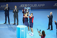17th November 2019; O2 Arena, London, England; Nitto ATP Tennis Finals; Pierre-Hugues Herbert (FRA) and Nicolas Mahut (FRA) were presented with Winners trophy after winning Double final match - Editorial Use