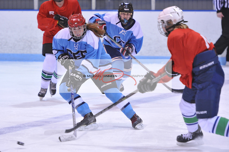 CHS/ER's Emma Beeler battles for the puck with Mat-Su's Tate Senden during Thursday's game.  Photo for the Star by Michael Dinneen