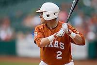 Texas Longhorns outfielder Mark Payton #2 at bat during the NCAA baseball game against the Houston Cougars on March 1, 2014 during the Houston College Classic at Minute Maid Park in Houston, Texas. The Longhorns defeated the Cougars 3-2. (Andrew Woolley/Four Seam Images)