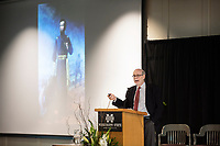 Prominent Abraham Lincoln scholar Harold Holzer delivers the inaugural Frank and Virginia Williams Lecture on Abraham Lincoln and Civil War Studies at Mississippi State University.<br />  (photo by Beth Wynn / &copy; Mississippi State University)