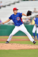 Tennessee Smokies starting pitcher Matt Swarmer (11) delivers a pitch during a game against the Pensacola Blue Wahoos at Smokies Stadium on August 30, 2018 in Kodak, Tennessee. The Blue Wahoos defeated the Smokies 5-1. (Tony Farlow/Four Seam Images)