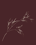 Bird perching on a bamboo branch with leaves, exquisite artistic design in oriental Japanese Zen ink painting style, illustration on dark red burgundy background