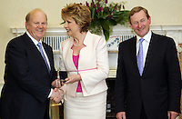 09/03/'11 Minister for Finance, Michael Noonan receives his seal of office from President McAleese and Taoiseach, Enda Kenny at Aras an Uachtarain this evening...Picture Colin Keegan, Collins, Dublin.