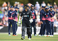 Mark Chapman heads back to the pavillion after being bowled by Moeen Ali.<br /> New Zealand Blackcaps v England. 5th ODI International one day cricket, Hagley Oval, Christchurch. New Zealand. Saturday 10 March 2018. &copy; Copyright Photo: Andrew Cornaga / www.Photosport.nz