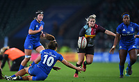 28th December 2019; Twickenham, London, England; Big Game 12 Womens Rugby, Harlequins versus Leinster; Sene Naoupu of Leinster offloads to Linda Djougang in the tackle - Editorial Use