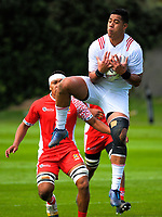 Tovo Faleafa takes a high ball duringthe international rugby match between  New Zealand Schools Barbarians and Tonga Schools at the Sport and Rugby Institute in Palmerston North, New Zealand on Thursday, 28 September 2017. Photo: Dave Lintott / lintottphoto.co.nz