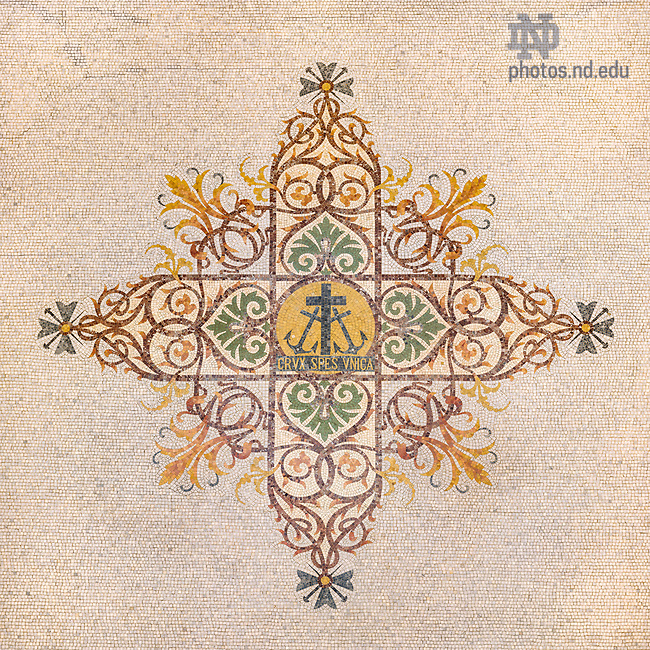 May 11, 2017; Mosaic on the floor of the Main Building rotunda (Photo by Matt Cashore/University of Notre Dame)