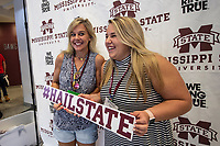 Incoming freshman Abbey Glaus and her mom Sharon Glaus take a break during orientation sessions inside the Colvard Student Union.<br />  <br /> (photo by Logan Kirkland / &copy; Mississippi State University)