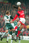 Jason Lee of Nottingham Forest and John Scales of Liverpool - Premier League - Nottingham Forest v Liverpool - City Ground - Nottingham - England - 23rd March 1996 - Picture Simon Bellis/Sportimage