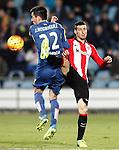 Getafe's Juan Rodriguez (l) and Athletic de Bilbao's Aritz Aduriz during La Liga match. January 30,2016. (ALTERPHOTOS/Acero)