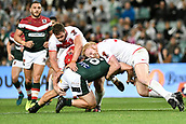 4th November 2017, Sydney Football Stadium, Sydney, Australia; Rugby League World Cup, England versus Lebanon; James Graham of England tackles Jamie Clark of Lebanon