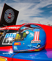 Jul 29, 2018; Sonoma, CA, USA; Detailed view of the helmet of NHRA funny car driver Robert Hight during the Sonoma Nationals at Sonoma Raceway. Mandatory Credit: Mark J. Rebilas-USA TODAY Sports