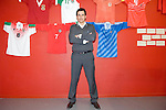 The new Welsh Football Manager Chris Coleman at the Waterfront Museum in Swansea where he held a question and answer sessions with Welsh football fans. He is pictured in front a famous Welsh Football jerseys in an exhibition on Welsh International Football at the museum.