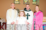 COMMUNION: Sophie Foran of Flemby NS who made her First Holy Communion at the Church of the Immaculate Conception, Ballymacelligott on Saturday l-r: Fr Ger Godley, Sophie Foran, Fr Pat Crean-Lynch and Fiona Cooke..