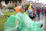 Young Girl In Poncho At Festival