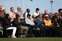SAN FRANCISCO, CA - AUGUST 11:  Former San Francisco Giants players Willie Mays, Willie McCovey, Juan Marichal, and Orlando Cepeda watch the ceremony to retire the #25 jersey of Barry Bonds before the game between the Pittsburgh Pirates and San Francisco Giants at AT&T Park on Saturday, August 11, 2018 in San Francisco, California. (Photo by Brad Mangin)