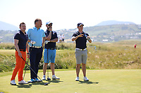 Barry McGrath, Mark Murnane and Phillip McEnroe who played with Chris Paisley (ENG) during the ProAm Day of the 2018 Dubai Duty Free Irish Open, Ballyliffin Golf Club, Ballyliffin, Co Donegal, Ireland.<br /> Picture: Golffile | Jenny Matthews<br /> <br /> <br /> All photo usage must carry mandatory copyright credit (&copy; Golffile | Jenny Matthews)