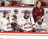 Bridget McCarthy (BC - 21), Caitrin Lonergan (BC - 11), Katie Crowley (BC - Head Coach), Delaney Belinskas (BC - 17) - The Boston College Eagles defeated the visiting University of Maine Black Bears 2-1 on Saturday, October 8, 2016, at Kelley Rink in Conte Forum in Chestnut Hill, Massachusetts.  The University of North Dakota Fighting Hawks celebrate their 2016 D1 national championship win on Saturday, April 9, 2016, at Amalie Arena in Tampa, Florida.