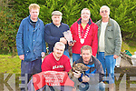Neilie Shanahan presents the Castlaisland Mart Working Members Stake trophy to Mayor Bobby O'Connell owner of the winning Greyhound View Ballymac at the Castleisland Coursing Meeting in Cahill Park, Castleisland on Monday front l-r: Edward and Neilus Sullivan, back row: Ted Kenny, Neilie Shanahan, Bobby O'Connell and Dave Nelligan Chairman