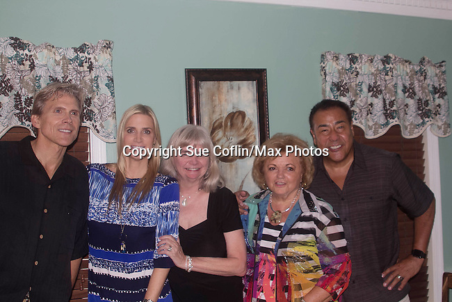 """Guiding Light's Grant Aleksander poses with his wife Sherry Ramsey and Sherry's cousin Sharon and John Quinones (ABC) and his wife Deanna (blue)  as Grant stars in """"Breathing Under Dirt"""" - full play which had its world premier on August 13 and 14, 2016 at the Ella Fitzgerald Performing Arts Center, University of Maryland Eastern Shore, Princess Anne, Maryland  (Photo by Sue Coflin/Max Photos)"""